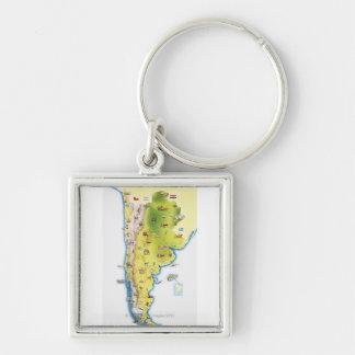 Carte de l'Amérique du Sud Porte-clé Carré Argenté