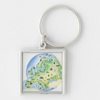 Carte de l'Europe avec des illustrations de célèbr Porte-clé Carré Argenté