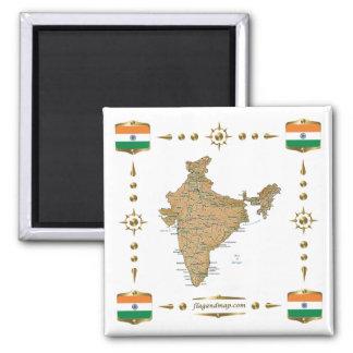 Carte de l'Inde + Aimant de drapeaux