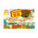Carte de l'itinéraire 66 de Los Angeles vers Carte Postale