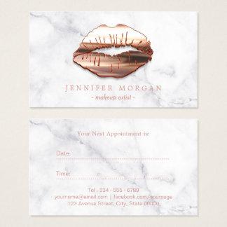 Carte de marbre de rendez-vous de lèvres roses de