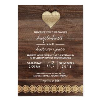 Carte de mariage rustique de coeur d'or du mariage