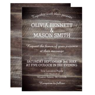 Carte de mariage texturisée en bois rustique