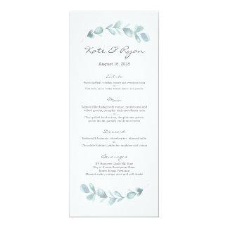 Carte de menu de mariage de jardin d'eucalyptus
