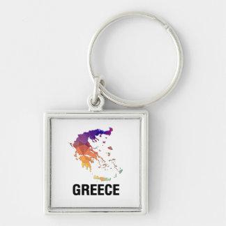Carte de mosaïque de polygone de la Grèce Porte-clefs