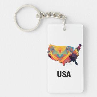 Carte de mosaïque de polygone des Etats-Unis Porte-clef