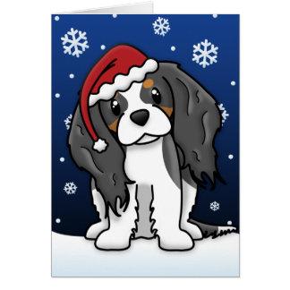 Carte de Noël cavalière tricolore d'épagneul de Ka