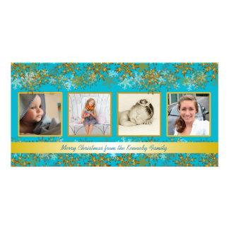 Carte de Noël de photo de famille de turquoise et Photocarte