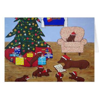 Carte de Noël de teckel