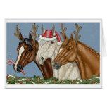 Carte de Noël idiote de trio de cheval