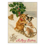 Carte de Noël victorienne de chien