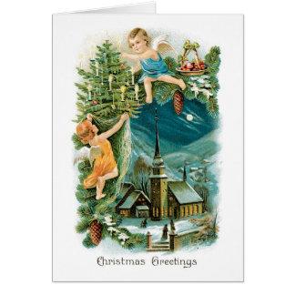 Carte de Noël vintage - salutations de Noël