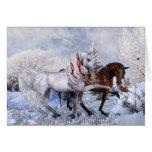 Carte de note de chevaux d'hiver de Noël