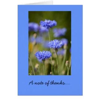 Carte de note de Merci avec les boutons bleus de
