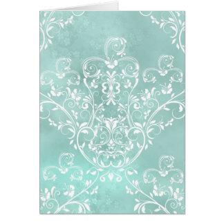 Carte de note turquoise élégante de damassé
