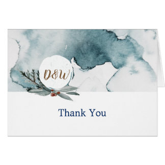 Carte de remerciements bleu de mariage du pays des