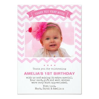 Carte de remerciements d'anniversaire de fille carton d'invitation  12,7 cm x 17,78 cm