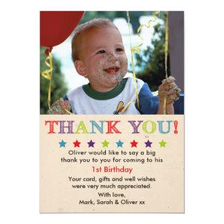 Carte de remerciements d'anniversaire de garçons
