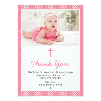 Carte de remerciements de baptême/baptême de fille