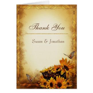 Carte de remerciements de mariage de automne
