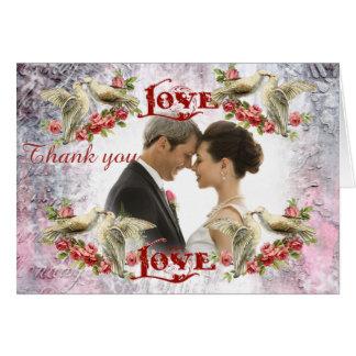 Carte de remerciements de mariage de colombe de