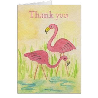 Carte de remerciements en plastique de flamants