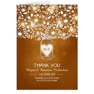 Carte de remerciements floral orange de mariage de