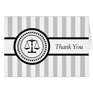 Carte de remerciements juridique d'échelles de
