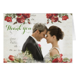 Carte de remerciements rose de mariage de cru