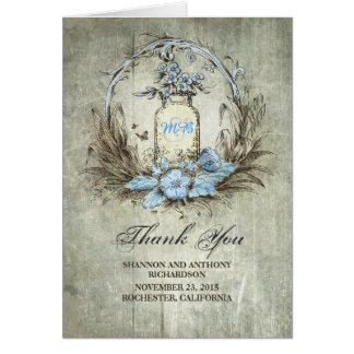 carte de remerciements rustique vintage de mariage