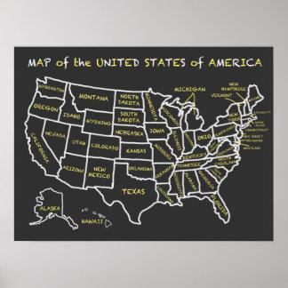 Carte de tableau d'amusement des Etats-Unis Poster
