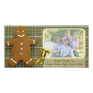 Carte de vacances de bonhomme en pain d'épice et d photocarte