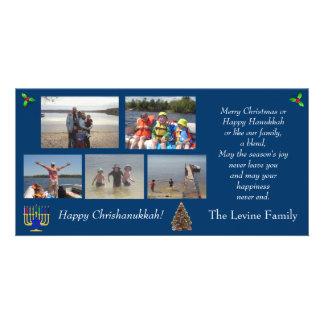 Carte de vacances de Noël/photo de Hanoukka Cartes Avec Photo