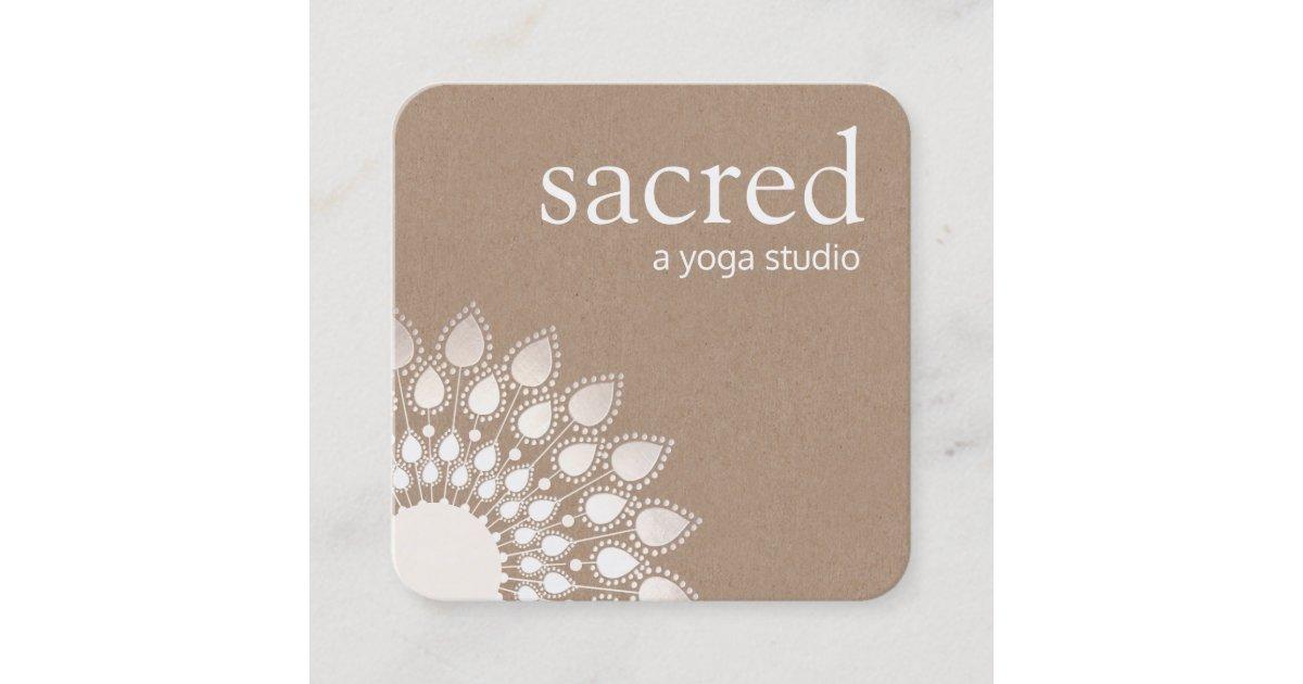 Carte De Visite Carre Yoga Et Meditation Argentes Mandala Lotus