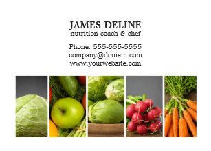 Carte De Visite Chef Blanc Elegant Nutrition Legumes