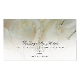 Carte de visite de wedding planner - roses blancs