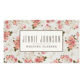 Carte de visite floral vintage de motif de roses r