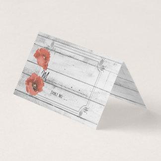 Carte De Visite Le pavot en bois blanc rustique fleurit le Tableau