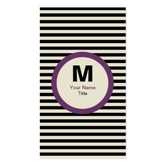 Carte de visite moderne de monogramme de rayure -