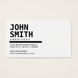 Carte de visite noir et blanc simple d'architecte