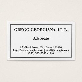 Carte de visite professionnel et de base d'avocat