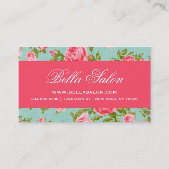 Carte De Visite Roses Floraux Vintages Elegants Chics Girly