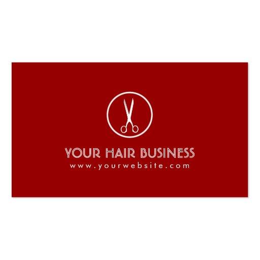 Carte de visite rouge moderne de salon de coiffure
