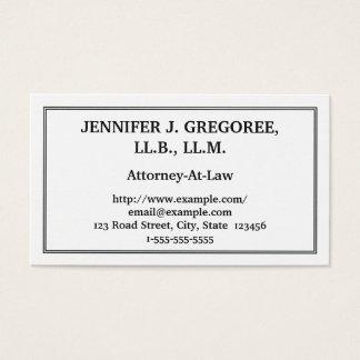 Carte de visite traditionnel et simple d'avocat
