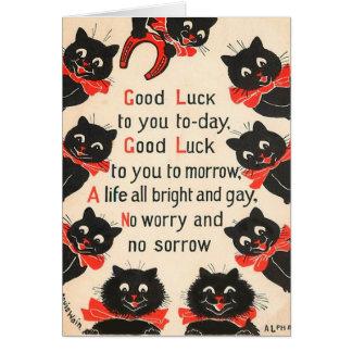 Carte de voeux de bonne chance de chats noirs