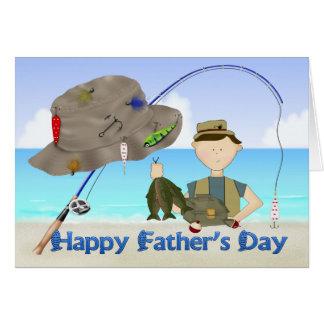 Carte de voeux de fête des pères de pêche