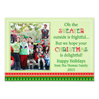 Carte de voeux de mauvais goût de Noël de chandail Carton D'invitation 12,7 Cm X 17,78 Cm