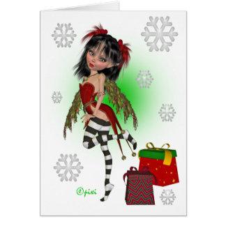Carte de voeux de Pixi de houx de Noël