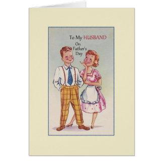 Carte de voeux vintage de fête des pères de mari