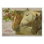 Carte de voeux vintage de Joyeux Noël de chevaux